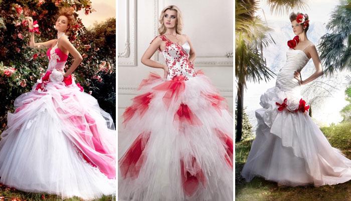 Фото свадебных платьев разного цвета